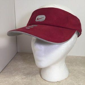 Nike burgundy gray Velcro sun visor unisex NWT